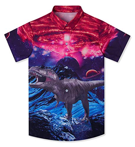 - Boy's Classic 00s Dinosaur T Shirt Hibiscus 3D Printed Iceberg Red Nebula Painting Hawaiian Aloha Button Up Shirt Summer Tropical Sun Surf Short Sleeve Clothes for Teens Size 9-10 Years Old