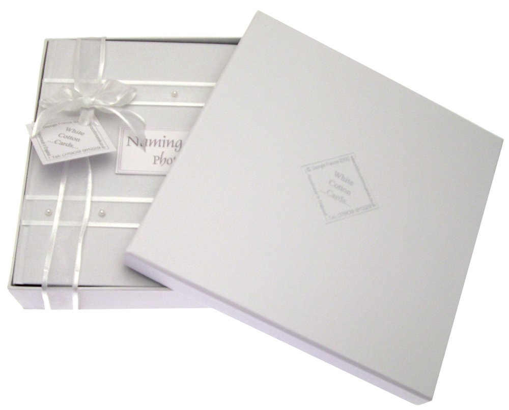 White Cotton Cards Naming Day Album photo pour b/éb/é d/écor/é de perles Blanc Medium