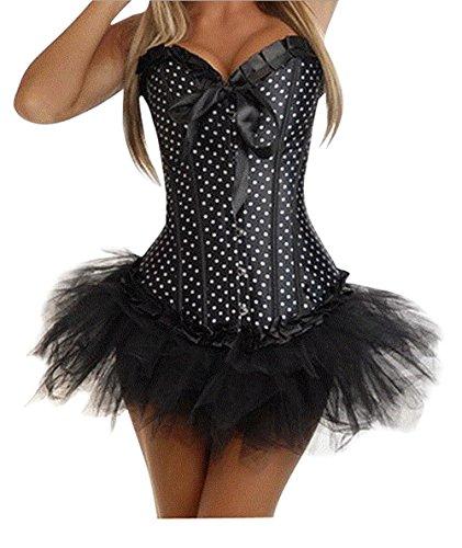 ZAMME La cintura del corsé del punto de polca de las mujeres Cincher Overbust Party los trajes + la falda del tutú Negro