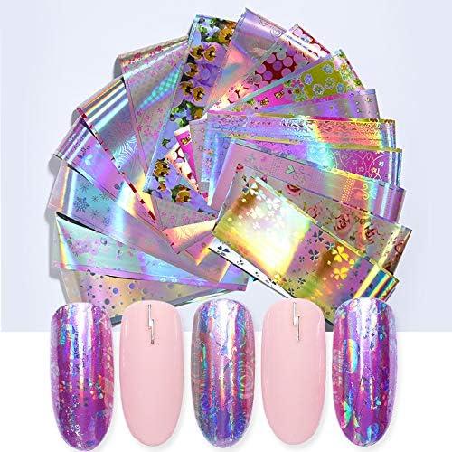LIUSHUGUANG 16 Unids/Pack Láminas de Uñas Holográficas Patrones de ...