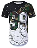URBANTOPS Mens Hipster Hip Hop Variety Pattern Camo Longline T-Shirt White, L