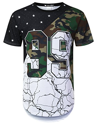 URBANTOPS Mens Hipster Hip Hop Variety Pattern Camo Longline T-Shirt White, M by URBANTOPS