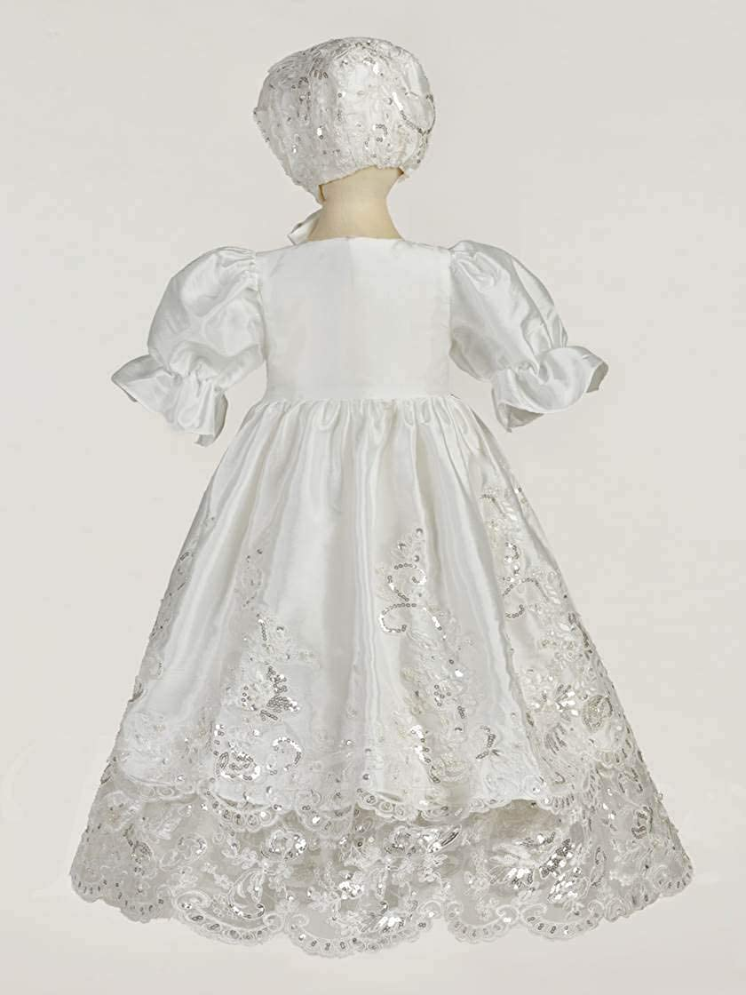 Faithclover Baby Girls Christening Dresses 2 Pieces Sequins Lace Appliques Party Dresses Bonnet