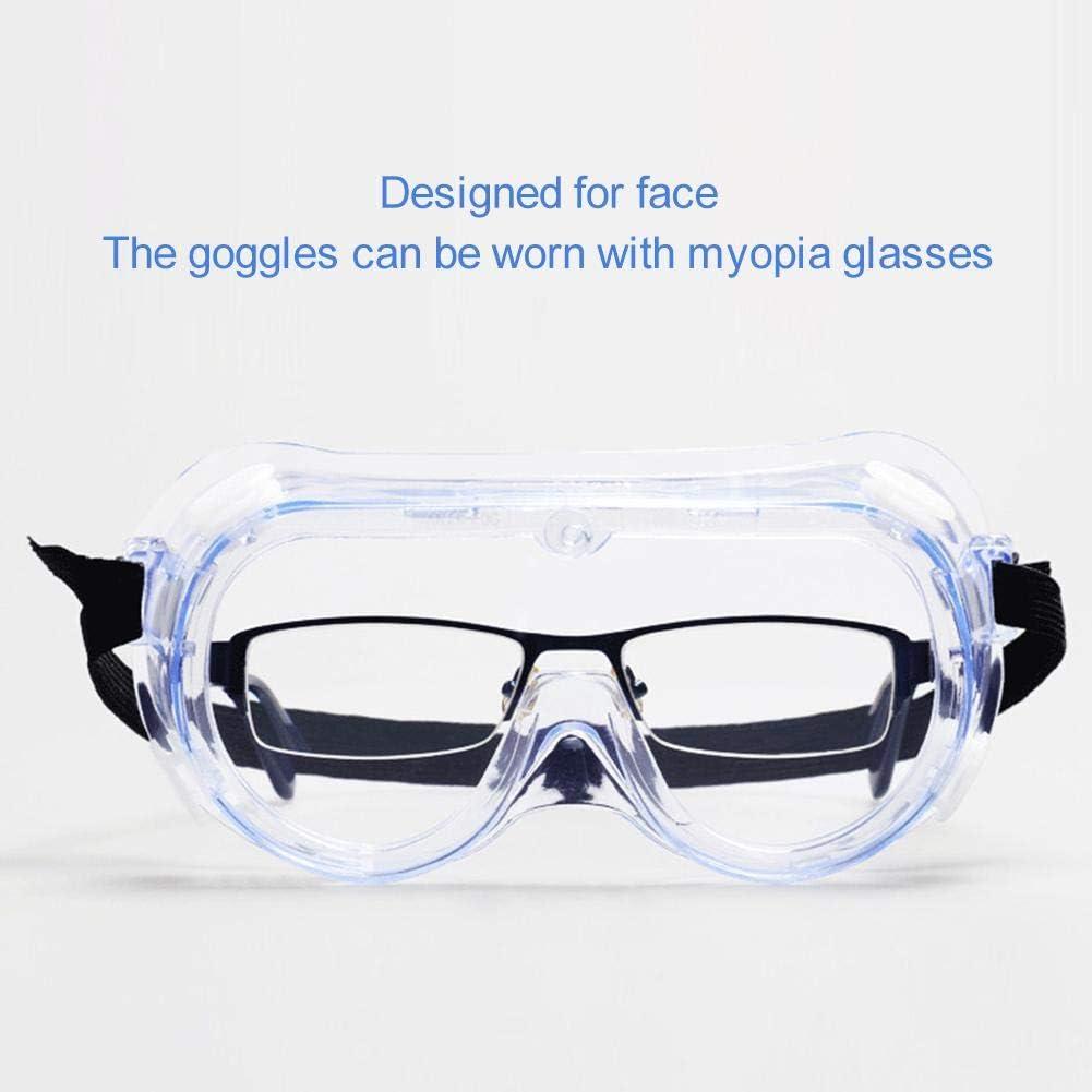 Ritapreaty 2 Pares de Gafas de Seguridad, protección para los Ojos al Aire Libre Gafas Transparentes Ajustables Antipolvo con una Banda elástica Ajustable