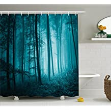 Ambesonne Mystic House Decor Shower Curtain Set, Magic Foggy Dark Forest Foliage Landscape Countryside Monochromic Artwork, Bathroom Accessories, 75 Inches Long, Teal