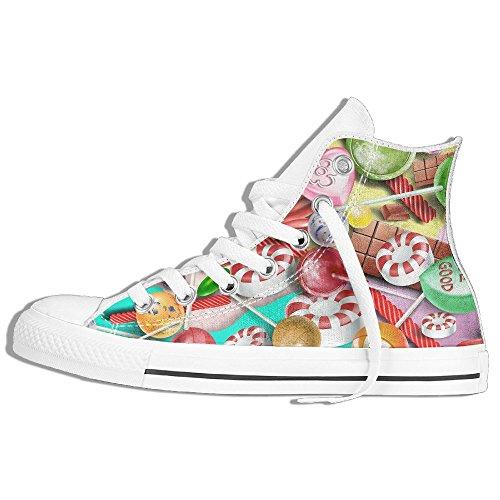 Zapatillas De Deporte Clásicas Altas Zapatos De Lona Antideslizante Lollipop Colorido Casual Walking Para Hombres Mujeres Blanco