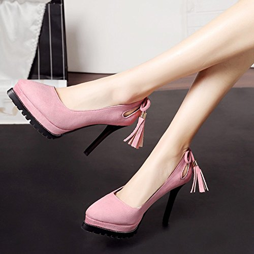 Top Cut Schleife Profilsohle Für Low Out Troddel Pumps Stiletto Plateau Damen Aisun Spitz Rosa Party 1qXRZ