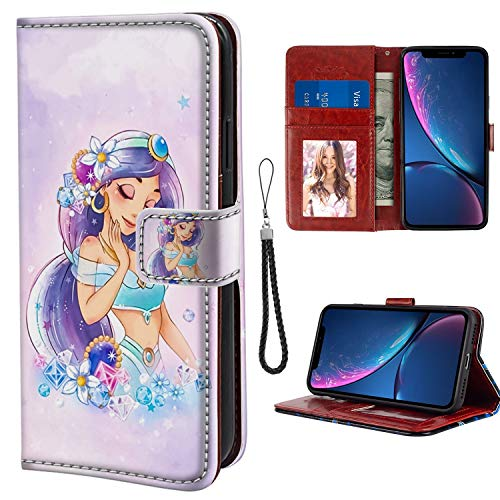 for iPhone Xr Wallet Case Princess Jasmine Flip Leather Case with Kickstand PU Leather Stand Folio Cover Case for iPhone Xr ()