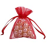 Ling's moment 100PCS RED 3x4 Inch Sheer Organza Gift Bag Party Wedding Favor Drawstring Bags