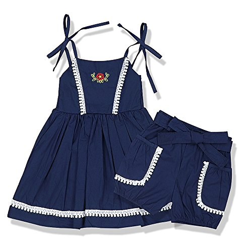 Little Girl Clothes Short Sets Sleeveless Lace Sling Summer Clothes Cotton Linen Clothing Set