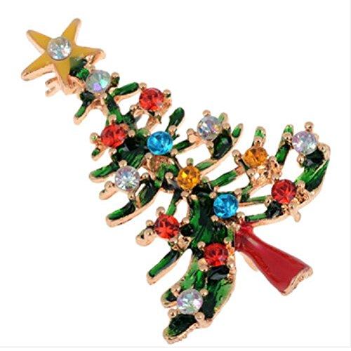 Haodeba 1 Piece Gorgeous Enamel Rhinestone Brooch Christmas Tree Brooch Pins Party Favor Best Gift for Girls Women Ladies