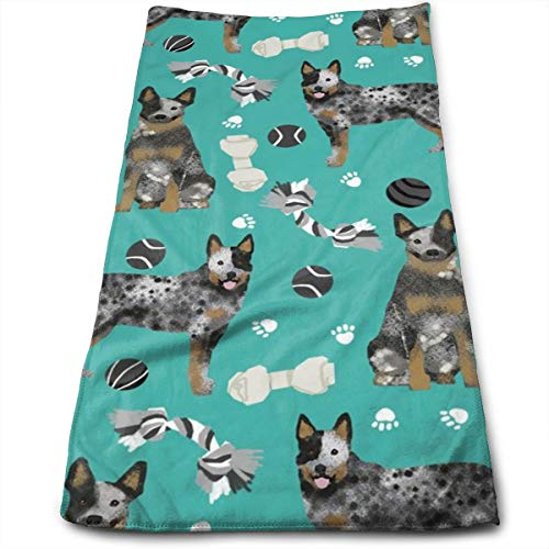 Australian Cattle Dog Toys - Dog Toys, Dog, Dog Breeds, Cattle Dog Heeler - Teal Hand Towels Dishcloth Floral Linen Hand Towels Super Soft Extra Absorbent for Bath,Spa and Gym 11.8