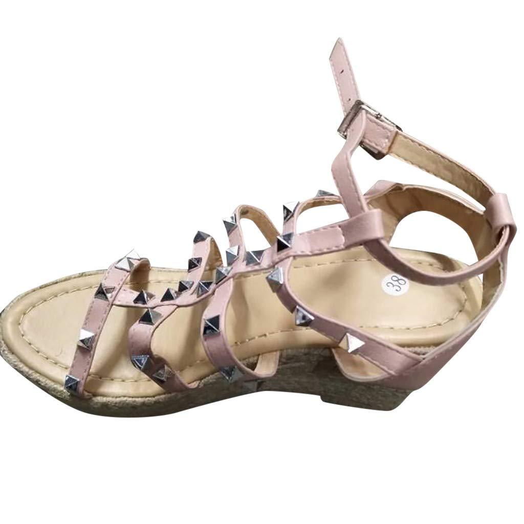 Women Wedge Sandals Summer,SIN+MON Women's Fashion Retro Buckle Strap Rivets Platform Sandals Thick Bottom Roman Sandals