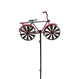 WHW Whole House Worlds Americana Red Bike Garden Stake, Spinning Wheels, Vintage Style Decoration, Rustic Red with Antiqued Finish, 4 Feet 3 Inches Tall (130 cm)