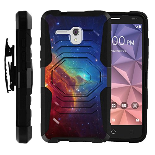 TurtleArmor | Compatible with Alcatel One Touch Fierce XL Case | Flint Case [Octo Guard] Dual Layer Case Holster Belt Clip Sturdy Kickstand Cover - Colorful Nebula Galaxy