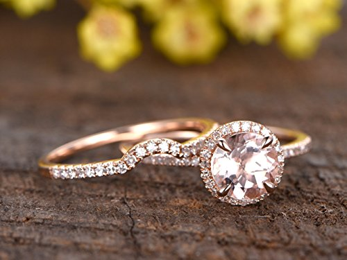 Solid 14k Rose Gold 7mm Round Natural Pink Morganite Diamonds Halo Claw Ring Jewelry Set,Half Eternity Pave Diamond Curved Bridal Wedding Propose Matching Band Sets Size 4-9 Proposal Promise