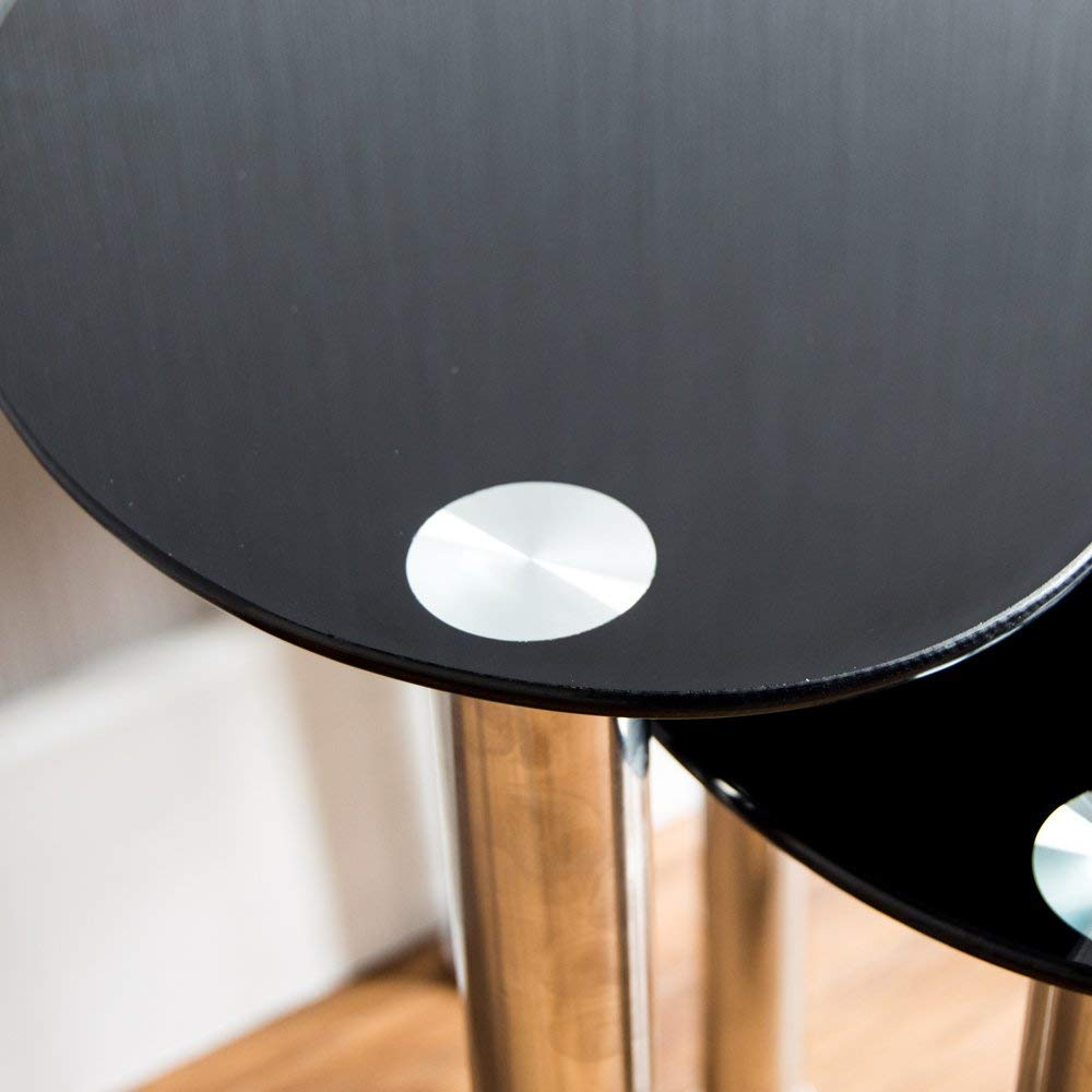 Home Discount/® Cara Lot de 3/Tables gigognes Verre Noir Moderne Meubles