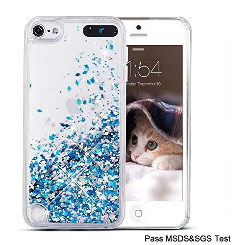 Maxdara iPod 5 Case, iPod 6 Case, iPod 7 Case Glitter Liquid Floating Bling Sparkle Quicksand Case for Girls Children for Apple iPod Touch 5th 6th 7th Generation (Blue) (Ipod Touch 32 Silver)