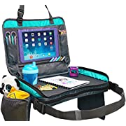 ORGANIZED EMPIRE's Detachable 4 in 1 Car Seat Travel Tray, Storage Organizer, Carry Bag & Tablet Holder for kids all in one. Most stable back seat Snack Tray on the market, no balancing required