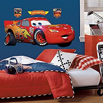 Beau Roommates Rmk1518Gm Disney Pixar Cars Lightning Mcqueen Peel U0026 Stick Giant Wall  Decal