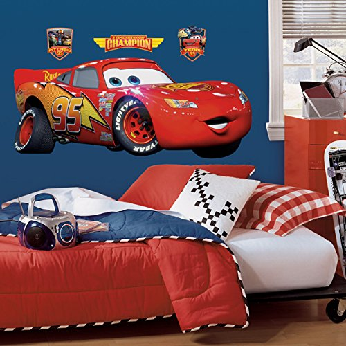 (RoomMates Disney Pixar Cars Lightening Mcqueen Peel and Stick Giant Wall Decal )