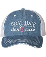 Go All Out One Size Blue Denim/White Adult Boat Hair Don't Care Embroidered Distressed Trucker Cap