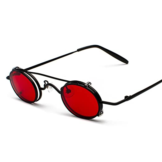 d4656fe8aab6 Tiny Sunglasses Men Clip On Round Retro Sun Glasses for Women Summer 2018  (black with