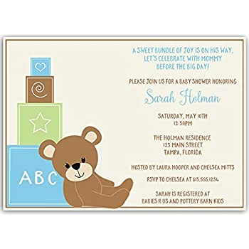Amazon baby shower invitations teddy bear baby boy chevron baby shower invitations teddy bear baby boy blue green cub little sprinkle toy blocks personalized customized set of 10 printed invites and filmwisefo Choice Image