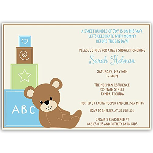 Baby Shower Invitations, Teddy Bear, Baby Boy, Blue, Green, Cub, Little, Sprinkle, Toy Blocks, Personalized, Customized, Set of 10 Printed Invites and Envelopes, Teddy Bear