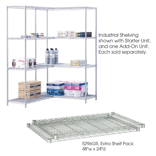 Safco Products 5296GR Industrial Wire Shelving Extra Shelf Pack 48