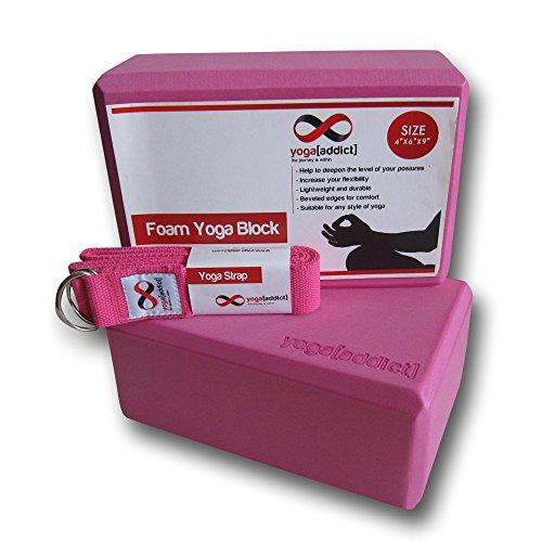 "Yoga Blocks 2 Pack and Strap Set Combo (4"" x 6"" x 9"" Large Foam Yoga Blocks and 8 Foot D-Ring Yoga Strap), Perfect Gift Set by YogaAddict - Pink Yoga Block & Pink Yoga Strap"