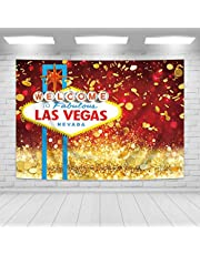 Imirell Las Vegas Party Backdrop 7Wx5H Feet Welcome to Las Vegas Fabulous Casino Night Fabric Polyester Golden Coins Party Photography Backgrounds Supplies Photo Shoot Decor Props Decoration