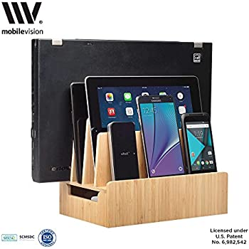 MobileVision Bamboo Charging Station U0026 Multi Device Organizer Slim Version  For Smartphones, Tablets, And
