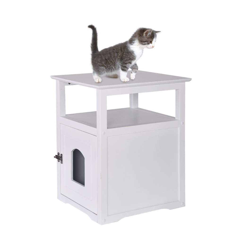 Alalaso Decorative Cat House Side Table Cat Home Nightstand Indoor Pet Crate Litter Loo Box Enclosure Cover End Table (Ship from USA)