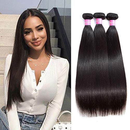 Original Limited Signed - Original Queen 8A Grade Brazilian Straight 3 bundles Deal Silky Straight Virgin Human Hair Weave Extension Mixed Lengths Natural Color 12 14 16 Inches