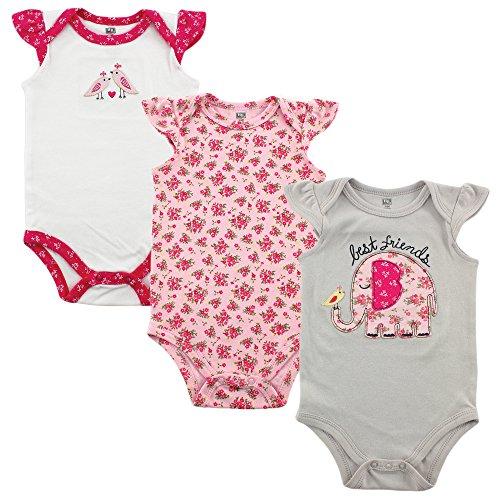 Hudson Baby Baby Girls' 3-Pack Hanging Bodysuit, Best Friends, 0-3 Months