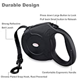 URPOWER 16.4 Feet Nylon Retractable Dog Leash with Nylon Ribbon Cord, Hand Grip, One Button Brake & Lock for Small, Medium Dogs