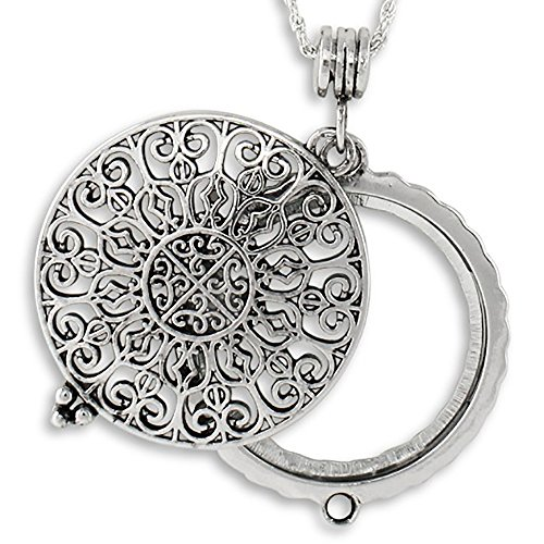 Filigree Magnifying Pendant Necklace Silvertone