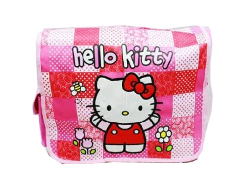 SANRIO Pink and Red Checkered Flowers Hello Kitty Messenger Bag - Hello Kitty Laptop Bag