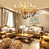 XuanYue 15 Arm Chandelier Ceiling Light K9 Crystal Glass Pendant Light Cognac Col