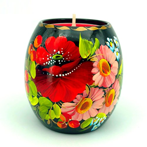 UA Creations Tea Light Holder with Hand Painted Flowers on Black, Nice Home Decor Accent for Table, Fireplace, Living Room or Office, Ethnic Gift for -
