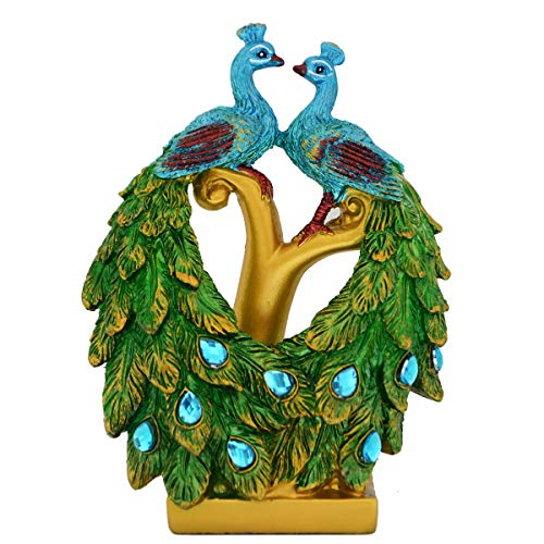 Bwinka Home Decoration Resin Phoenix Figurine Crafts Green Peafowl Plumage Sculpture-Good Luck for Home Decor/Gift/Office