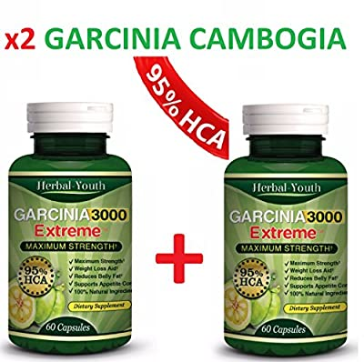 [NEW] 2 X Bottles-3000mg Daily Garcinia Cambogia- HCA 95% Weight Loss Diet Slim, Powerful NEW Garcinia Cambogia Extract, Maximum Strength Natural Weight Loss Supplement, Appetite Suppressant, Fat Burner