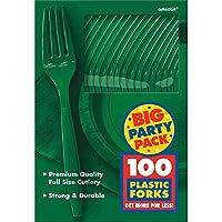 Amscan Big Party Pack 100unidades Peso Medio tenedores de plástico, verde