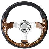 ForeverSharp 12.5 Inch Burlwood 6 Hole Golf Cart Steering Wheel with Horn