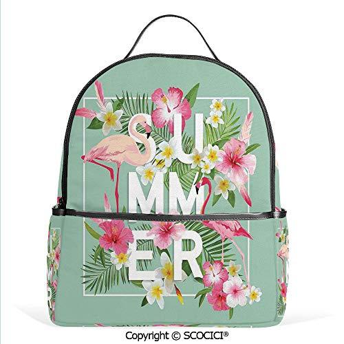 - Lightweight Chic Bookbag Tropical Flower with Flamingos Retro Wedding Romance Petals Graphic Art,Mint Green Pink,Satchel Travel Bag Daypack