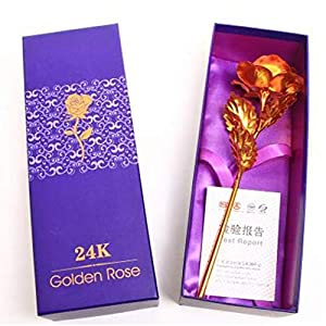 sholdnut Valentine Wedding Mothers Day Gold Foil Artificial Forever Rose Flower Gift Artificial Flowers,24K Gold Rose Flower for Her, Valentine's Day, Wedding Day, Birthday, Thanksgiving 118
