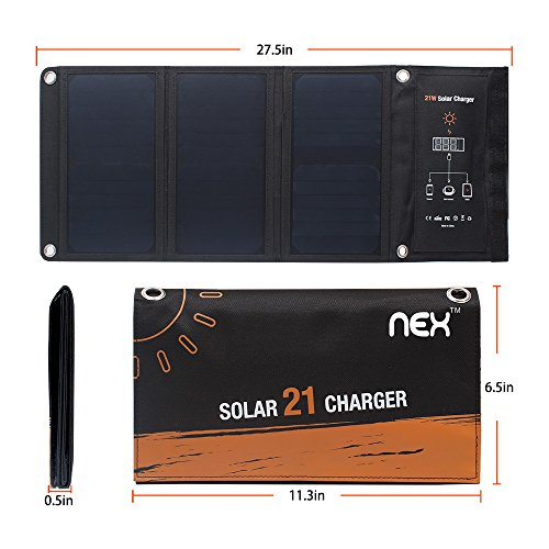 21W Dual USB Solar Charger, Foldable Waterproof  Portable Charger, High Efficiency Solar Panel for Cellphones Tablets Flashlight and Camping Travel by NEX (Image #1)