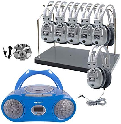 (Hamilton Buhl 6 Station Listening Center with Bluetooth Boombox (CD/Cassette/FM Player) & Headphone Rack)