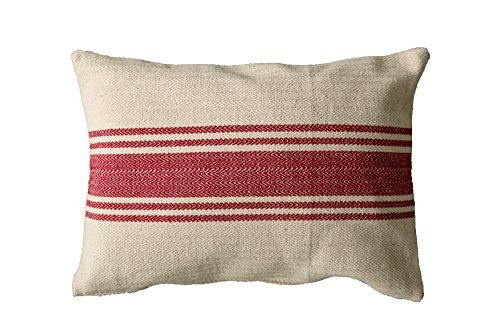 Creative Co-op Cream Cotton Canvas Pillow with Red Stripes [並行輸入品] B07R836DWM